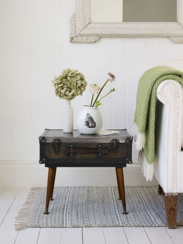 how to upcycle a vintage suitcase into a small side table with rh housebeautiful com suitcase side table oliver bonas suitcase side table oliver bonas