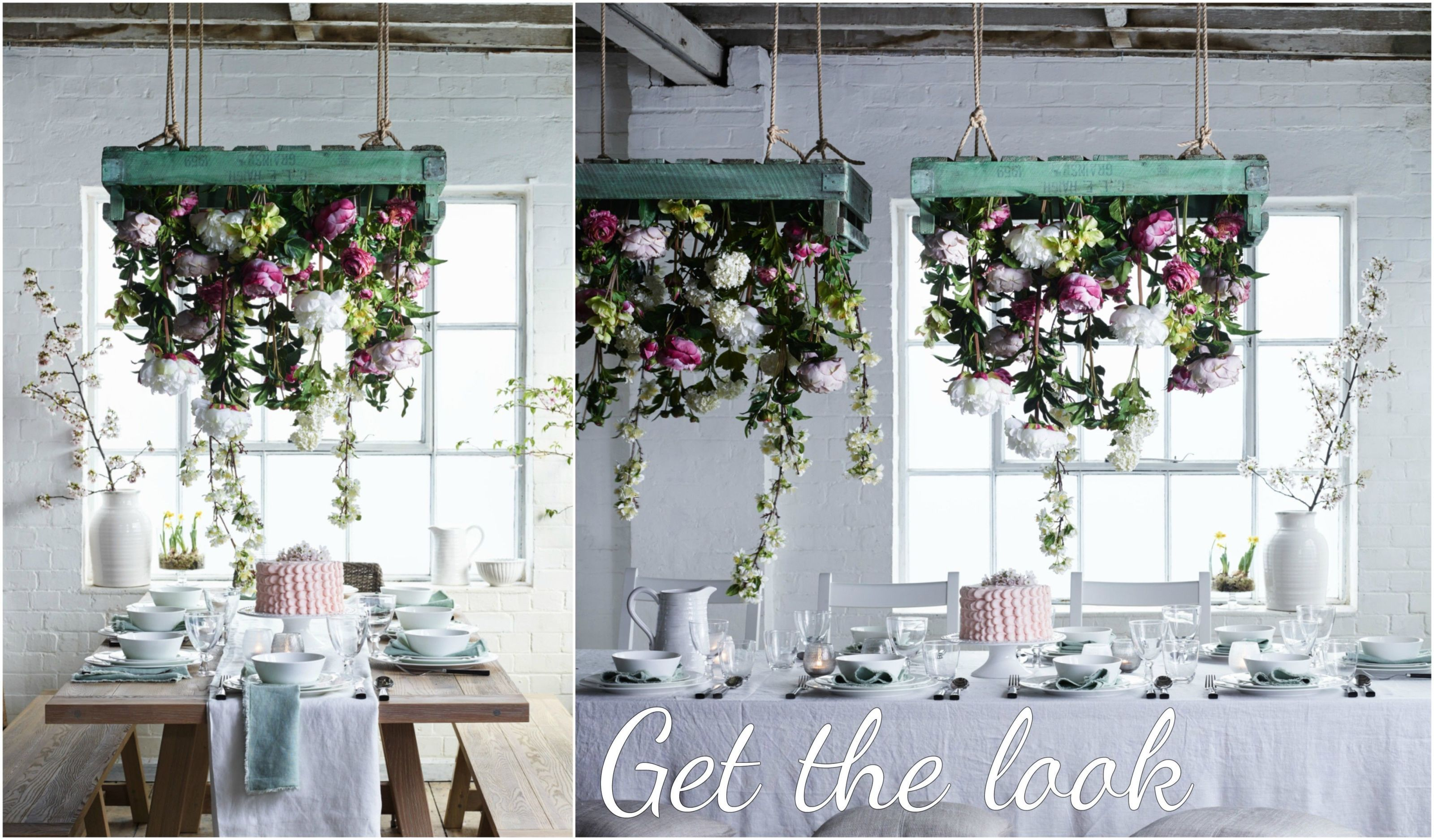 Neptune Arundel table and flower centrepiece & Hanging flower chandelier - floral DIY table centrepiece