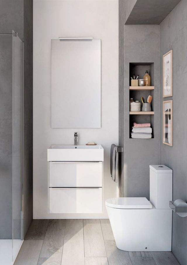 Inspira wall-hung white gloss base unit Inspira square wall-hung basin & Small Bathroom Ideas To Help Maximise Space
