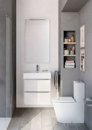 Inspira Wall Hung White Gloss Base Unit Square Basin