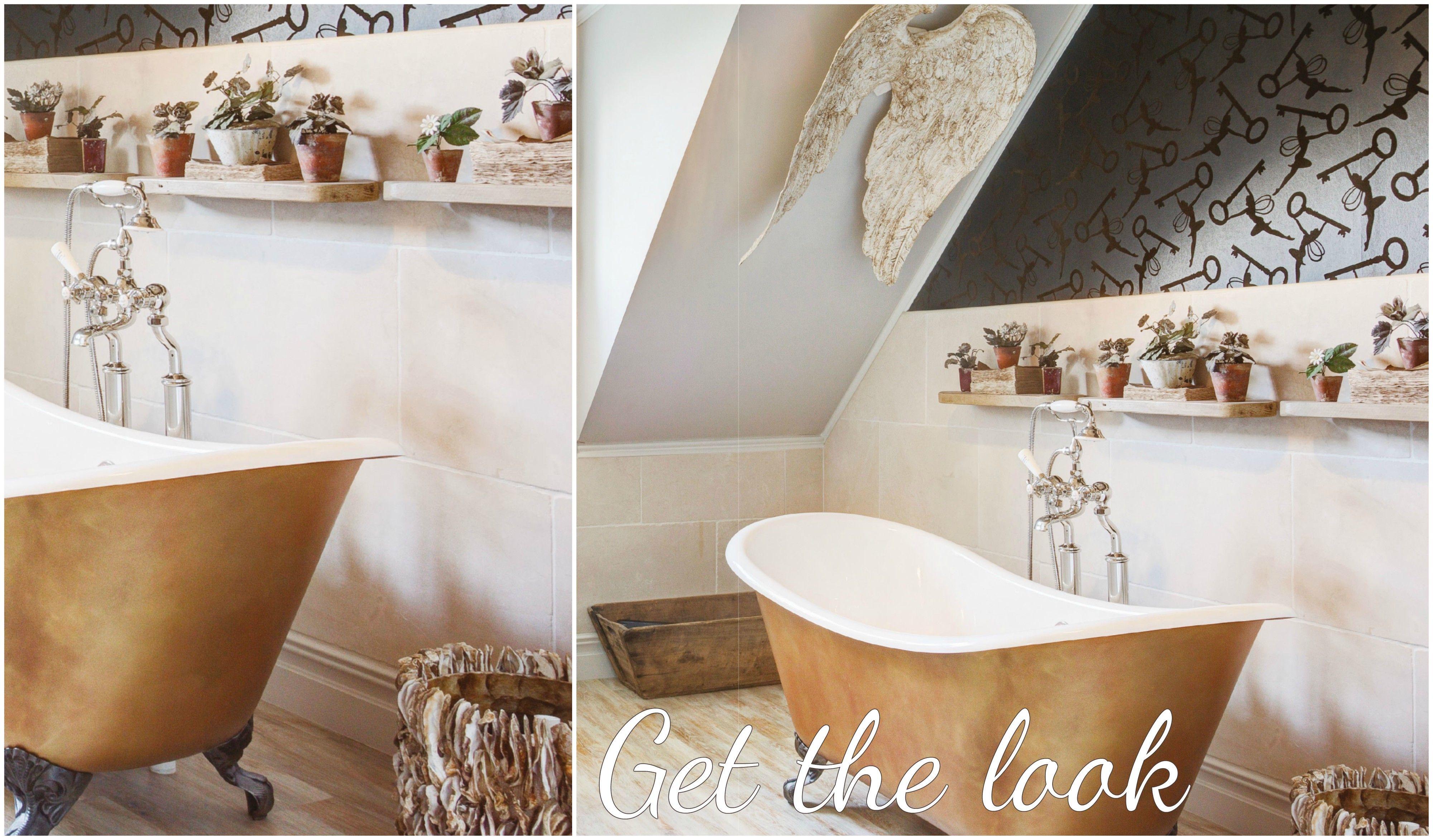 Metallic gold roll top bathtub - luxury bathroom idea
