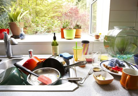 Dirty dishes piled in kitchen sink