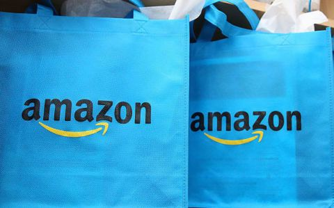Amazon logo blue bags