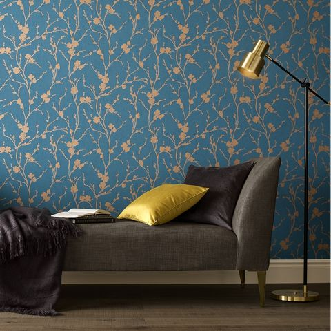 Graham and Brown Chelsea Flower Show inspired wallpaper: Chelsea, Meiying Teal Wallpaper