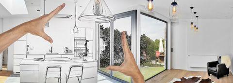 Planned renovation of a Open modern kitchen from loft