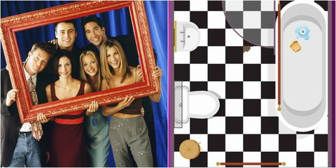 Bathroom layout in TV show Friends - collage