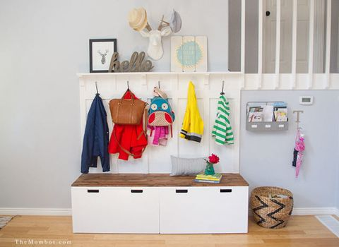 "<p>Don't let your kids drop their coats onto the floor ever again. When you give them dedicated hooks on a hallway organiser unit made out of Ikea storage benches, they'll always know where to put their belongings (and adults will too!).</p><p><a href=""http://themombot.com/crafting/2015/06/25/ikea-hack-diy-mudroom-benches/"" target=""_blank""><em data-redactor-tag=""em"">See more at The Mombot »</em></a></p>"