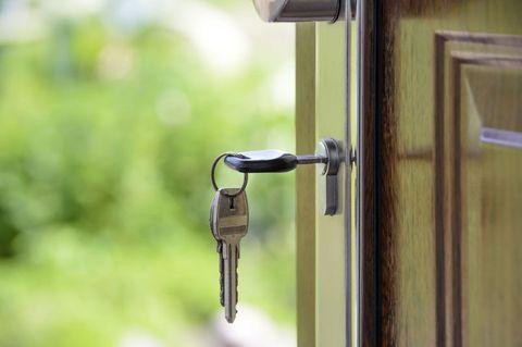 Front door - keys in lock