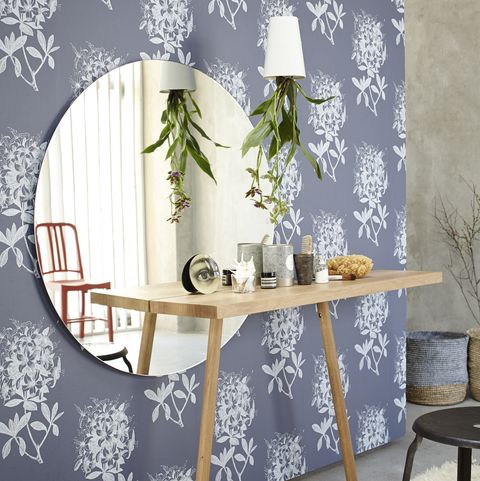 Makeup stand with desk, round mirror, hanging planter and chairs