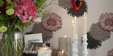 Table at home with ornaments and candles