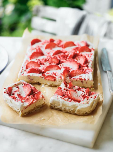 Strawberry ripple shortbread slice - recipe from Waitrose