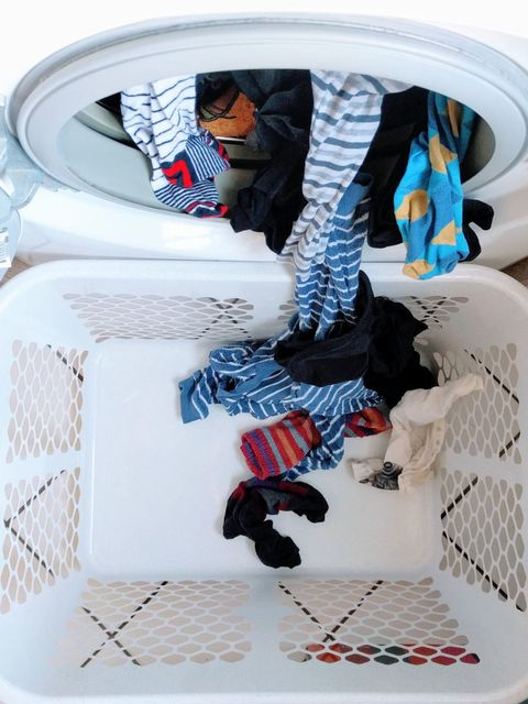Clothes Coming Out From Washing Machine In Basket