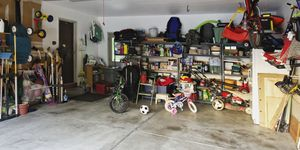 Cluttered garage in house