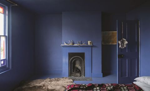 Farrow & Ball Small Spaces - Pitch Blue on all walls, ceiling and floors