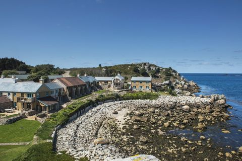 Sea Garden Cottages On The Site Of The Original Island Hotel, Tresco, Isles Of Scilly, Cornwall, Uk, Europe