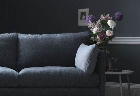Hygge large sofa in Galloway Shadow with bolsters in Galloway Petrol. Scatter in Echo Pomelo