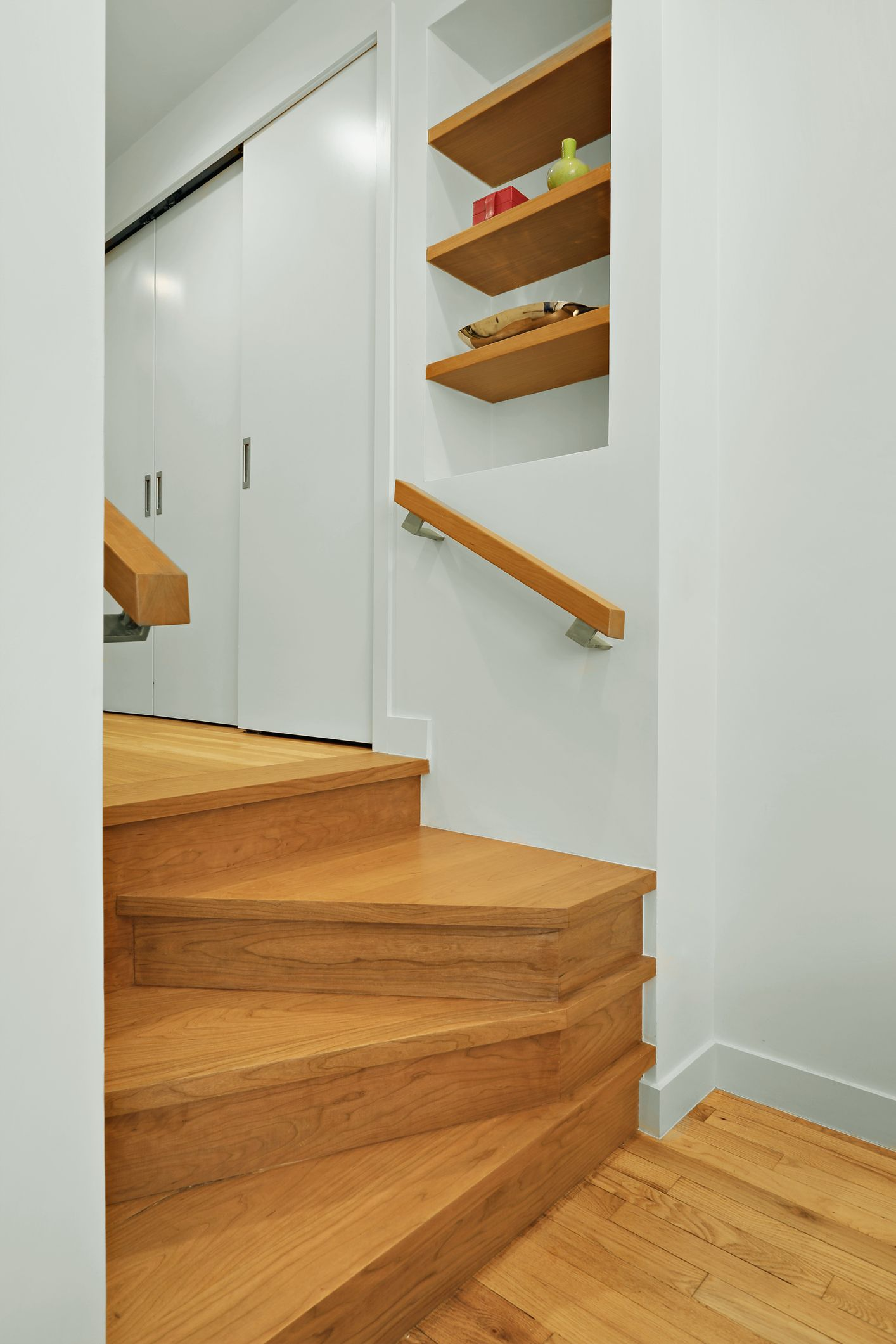 Pocket Stairway: Custom Modern Four Step Stairway Leads To Hallway, Forms  Mini