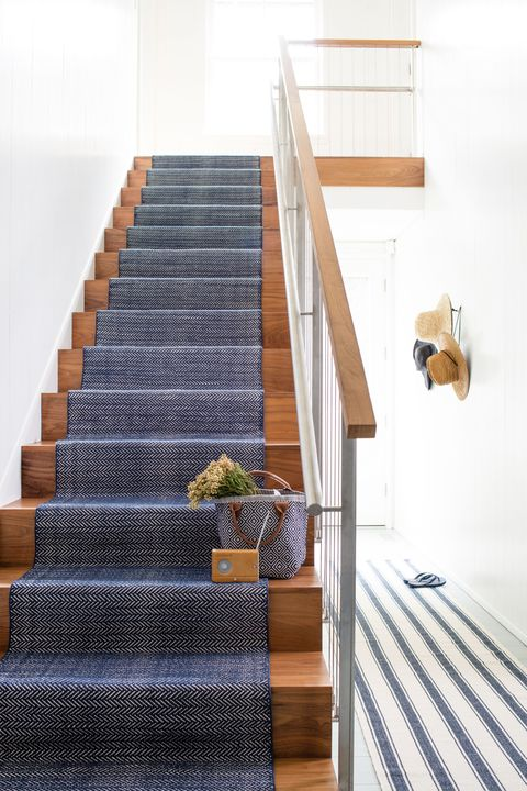Dash & Albert Europe - Herringbone Indigo Cotton Rug (as Stair Runner)