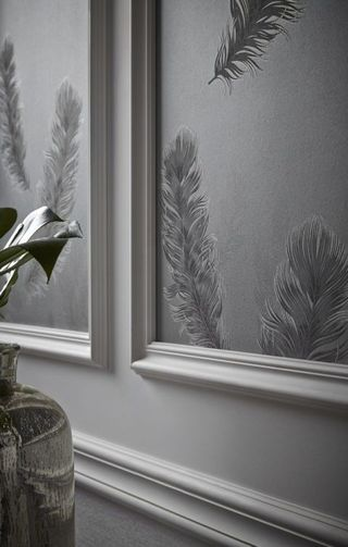 Sirius Feather Pattern Metallic Textured Wallpaper in Gunmetal, price £15.99