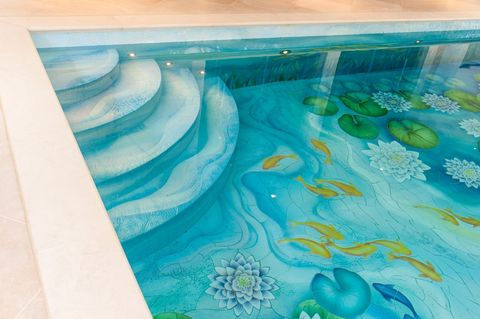 Indoor Swimming Pool With Beautiful Water Lily Ceramic Tile Mural Design