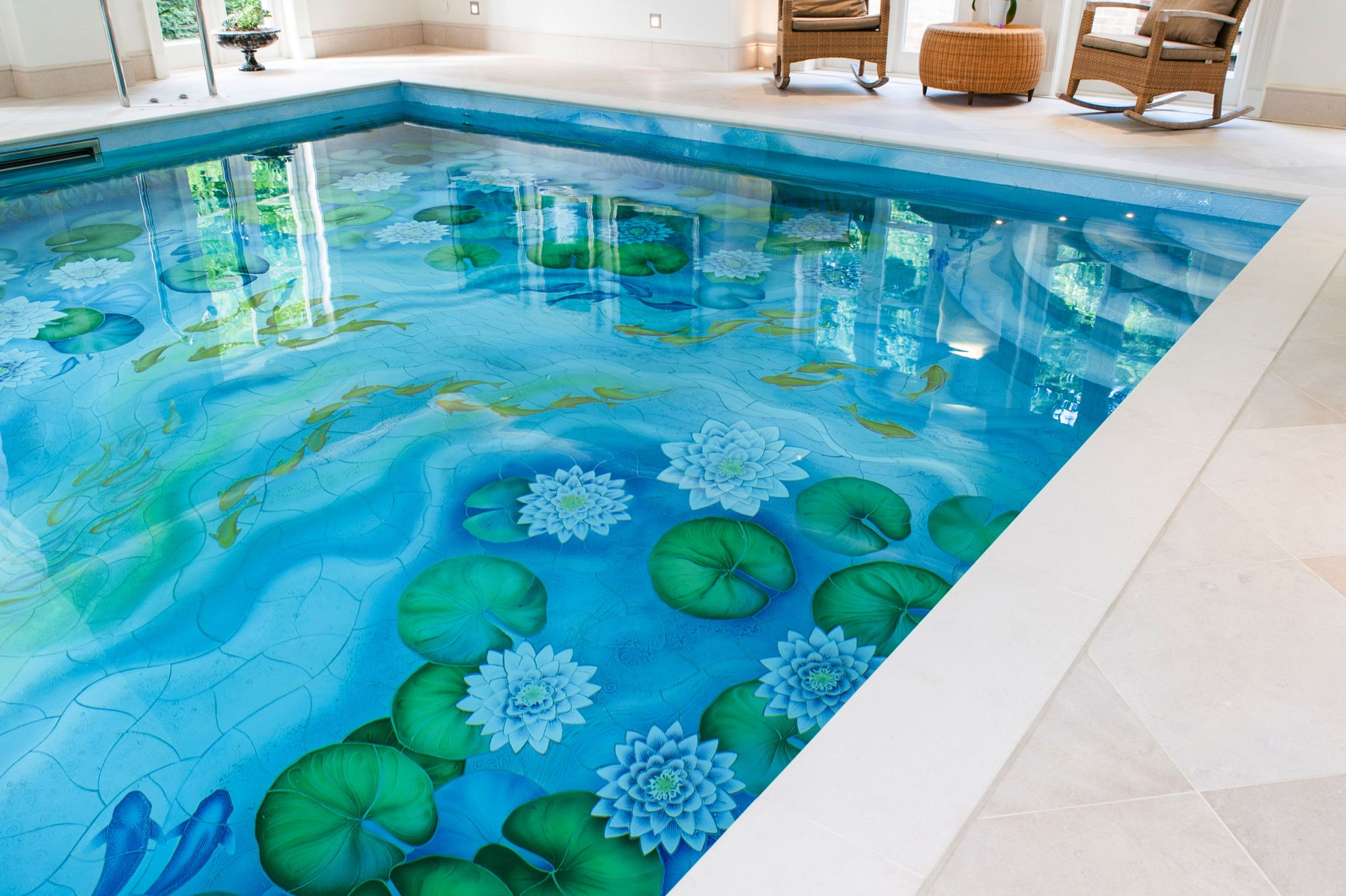 Indoor Swimming Pool With Beautiful Water Lily Ceramic Tile Mural Design