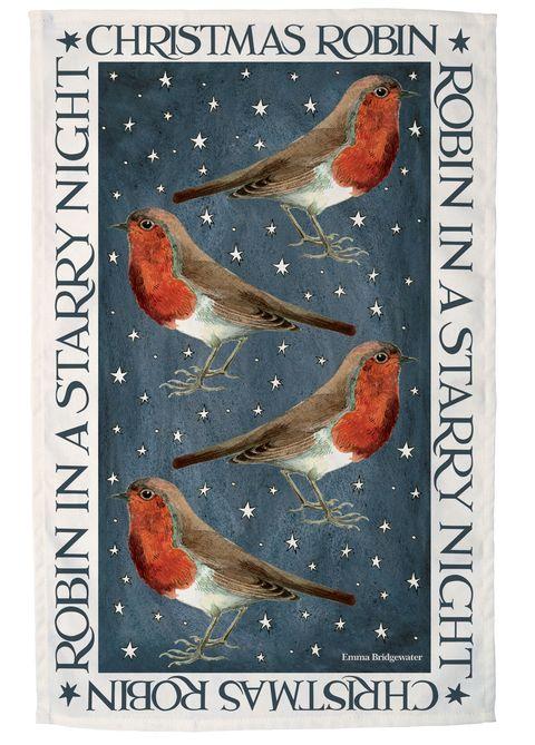 Emma Bridgewater Christmas robin print tea towel