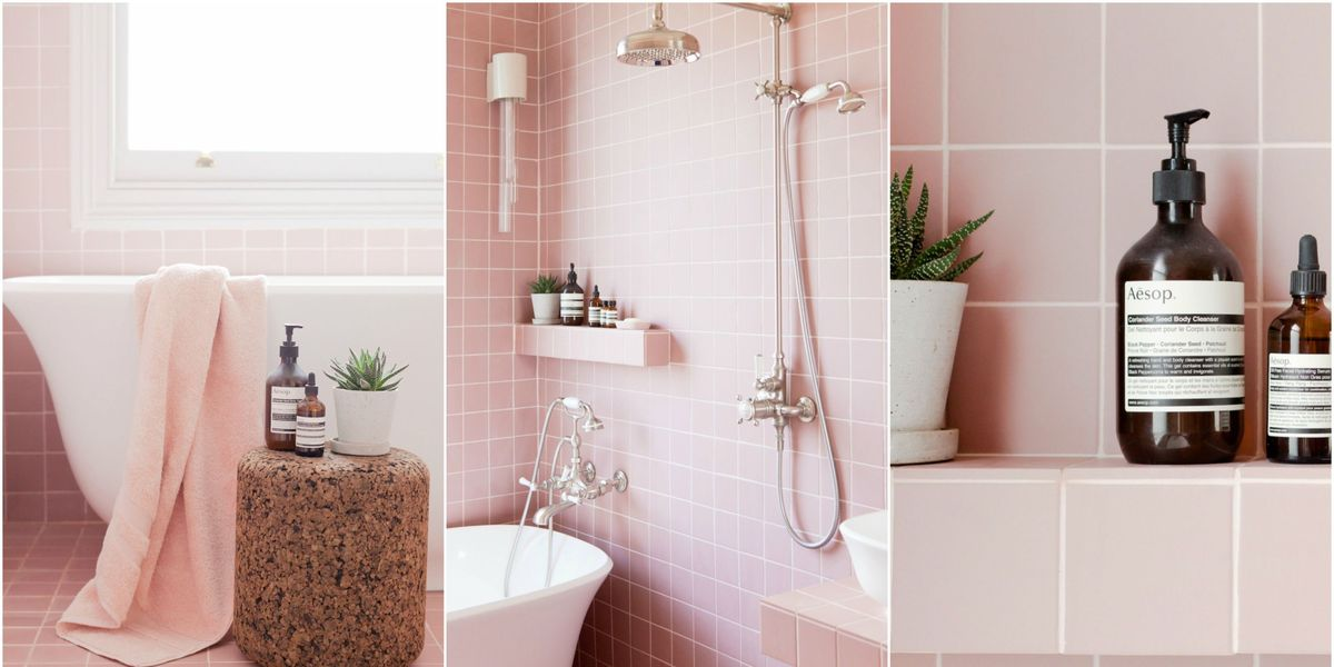 enchanting pink ceiling bathrooms | Tour 2LG's Pink Bathroom - Pink Bathroom Tiles