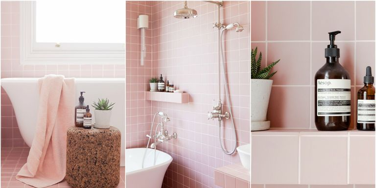 Tour 2LG\'s Pink Bathroom - Pink Bathroom Tiles