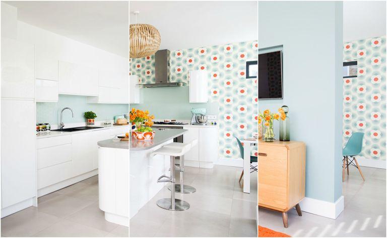 Orla Kiely Wallpaper Brings Colourful Retro Look To New Kitchen Design