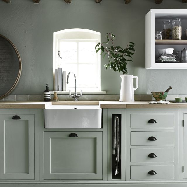 neptune henley kitchen hand painted in sage from £14,000