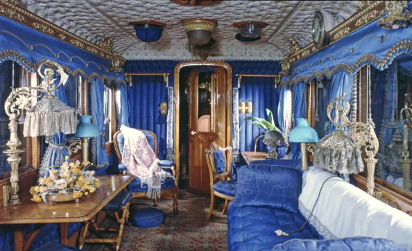 When Queen Victoria first rode on the royal train in 1842 from Windsor to London, the interior of her saloon was the epitome of extravagance, from the upholstered blue walls to ornate gold accessories. Pictured above is the modern version. 