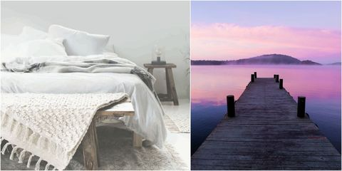 Swedish bed and lake collage