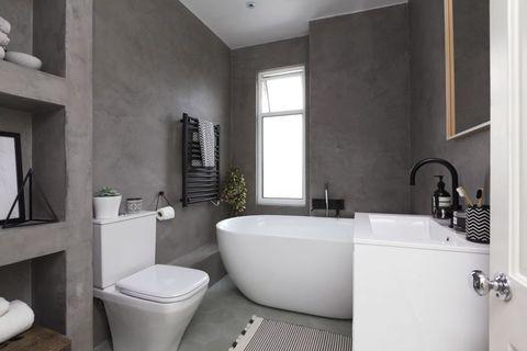 Small bathroom makeover - pared back. Wimbledon, London