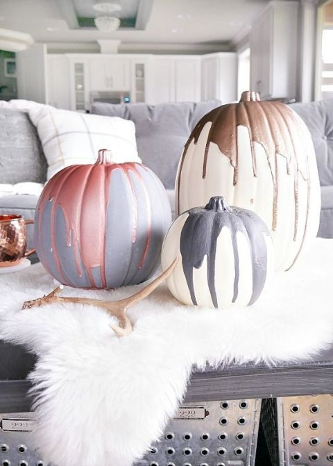 "<p>Skip the usual autumn colour palettes and recreate these unique metallic pumpkins from <a href=""http://designdininganddiapers.com/modern-metallic-pumpkins/"" target=""_blank"">Taryn Whiteaker</a>. All you need are a few shimmery paint options and some pumpkins to decorate (real or faux!). They make for the perfect centrepiece&nbsp;at a glamorous dinner party that isn't <span data-redactor-tag=""span"" data-verified=""redactor""></span><em data-redactor-tag=""em"" data-verified=""redactor"">too </em>thematic.</p><p><strong data-redactor-tag=""strong"" data-verified=""redactor"">BUY NOW:&nbsp;</strong><strong data-redactor-tag=""strong"" data-verified=""redactor""><a href=""https://www.amazon.co.uk/Reeves-Metallic-Colours-Acrylic-Paint/dp/B000WKYXWE/"" target=""_blank"" data-tracking-id=""recirc-text-link"">Reeves 4 x 75 ml Metallic Colours Acrylic Paint, £9.90, Amazon</a></strong></p>"