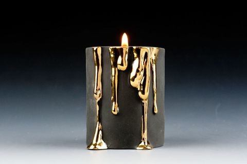Porcelain Candle Holder With Dripping Gold