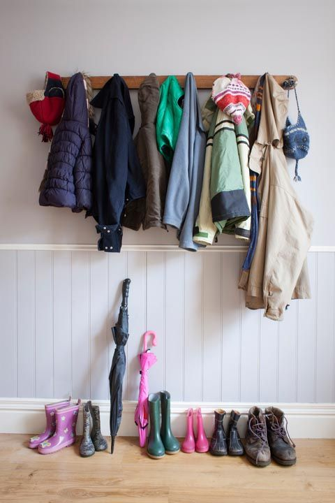 """<p>'Coat racks can get cluttered really fast unless you have only one jacket,'says Jasmine Hobbs, an organising expert at <a href=""""https://www.londoncleaningteam.co.uk/"""" target=""""_blank"""" data-tracking-id=""""recirc-text-link"""">London Cleaning Team</a>. Unfortunately, it's often the first thing people notice when entering your home.'Make space for out-of-season outerwear in your bedroom wardrobeto avoid this. </p><p><strong data-redactor-tag=""""strong"""" data-verified=""""redactor"""">MORE:</strong><span><strong data-redactor-tag=""""strong"""" data-verified=""""redactor""""><a href=""""http://www.housebeautiful.co.uk/lifestyle/shopping/news/a2290/organise-hallway-elephant-coat-hook/"""" data-tracking-id=""""recirc-text-link"""">These quirky elephant shaped coat hooks will bring some order to your hallway</a></strong></span></p>"""