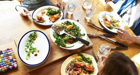 Family eating lunch, close up of food on wooden table