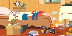 picture puzzle - spot unlucky objects in bedroom