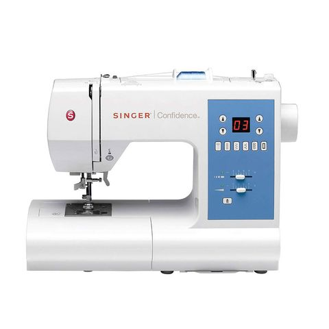 """<p>Offering over 50 built-in stitches, one&nbsp;buttonhole, a drop and sew bobbin system and an LED-lit surface, this computerised model is simple to operate.&nbsp;</p><p><span data-redactor-tag=""""span"""" data-verified=""""redactor""""></span><strong data-redactor-tag=""""strong"""" data-verified=""""redactor"""">BUY HERE:</strong> <a href=""""http://www.dunelm.com/product/singer-7465-confidence-sewing-machine-1000043971"""" target=""""_blank"""" data-tracking-id=""""recirc-text-link"""">Dunelm</a> (£220)</p>"""