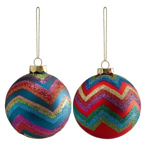Set Of 2 Large Multi-Coloured Zig-Zag Glass Baubles 10cm