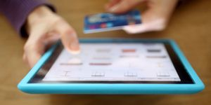 Shopping online using a credit card on a tablet