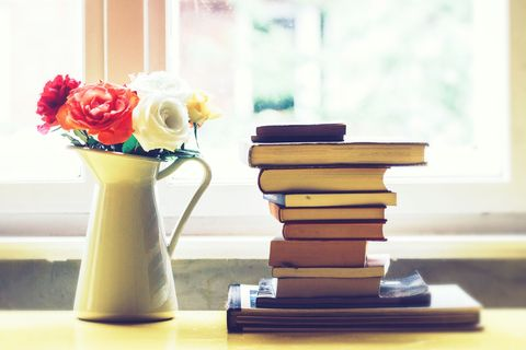 book pile flowers