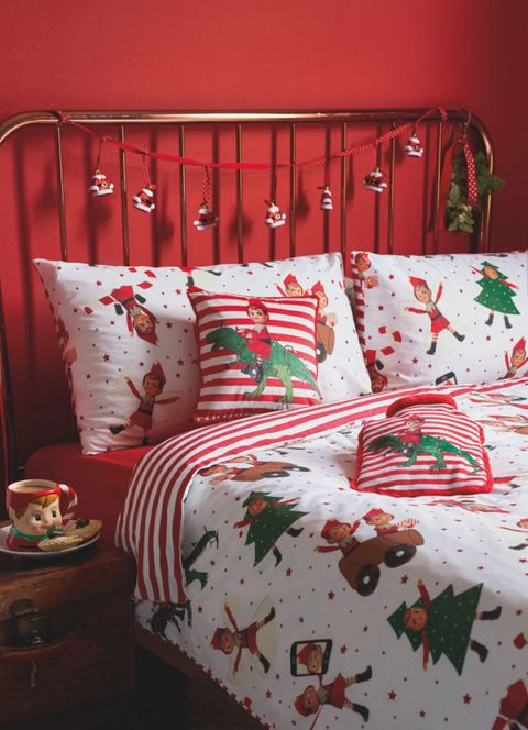 George Home Christmas Cheeky Elf Print Duvet Set Lifestyle