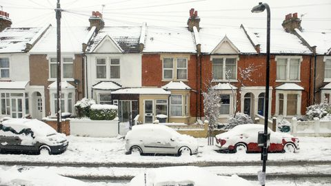 A London street covered in snow