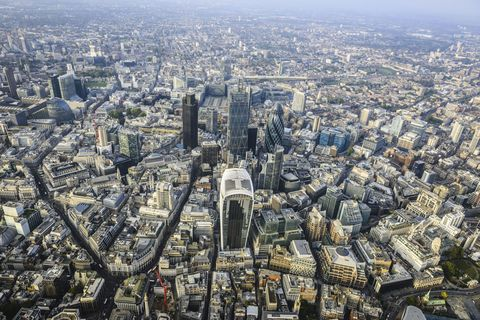 Aerial view of London cityscape, England