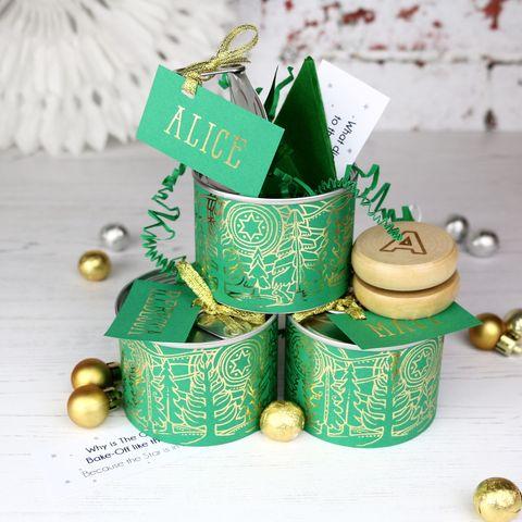 Green Scandi Design Alternative Christmas Cracker Tin