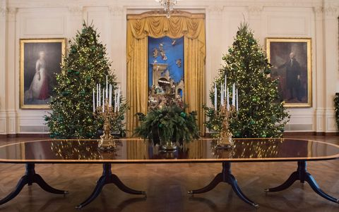 <p>Two of the 53 Christmas trees flank a nativity scene in the East Room. The theme 'Time-Honoured Traditions'&nbsp;reflect 200 years of holiday celebrations at 1600 Pennsylvania Avenue. </p>