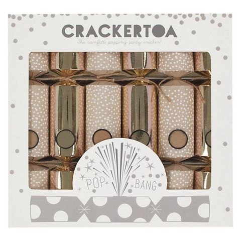 Crackertoa Kraft Snowflake Christmas Crackers, Pack of 6, Rose Gold