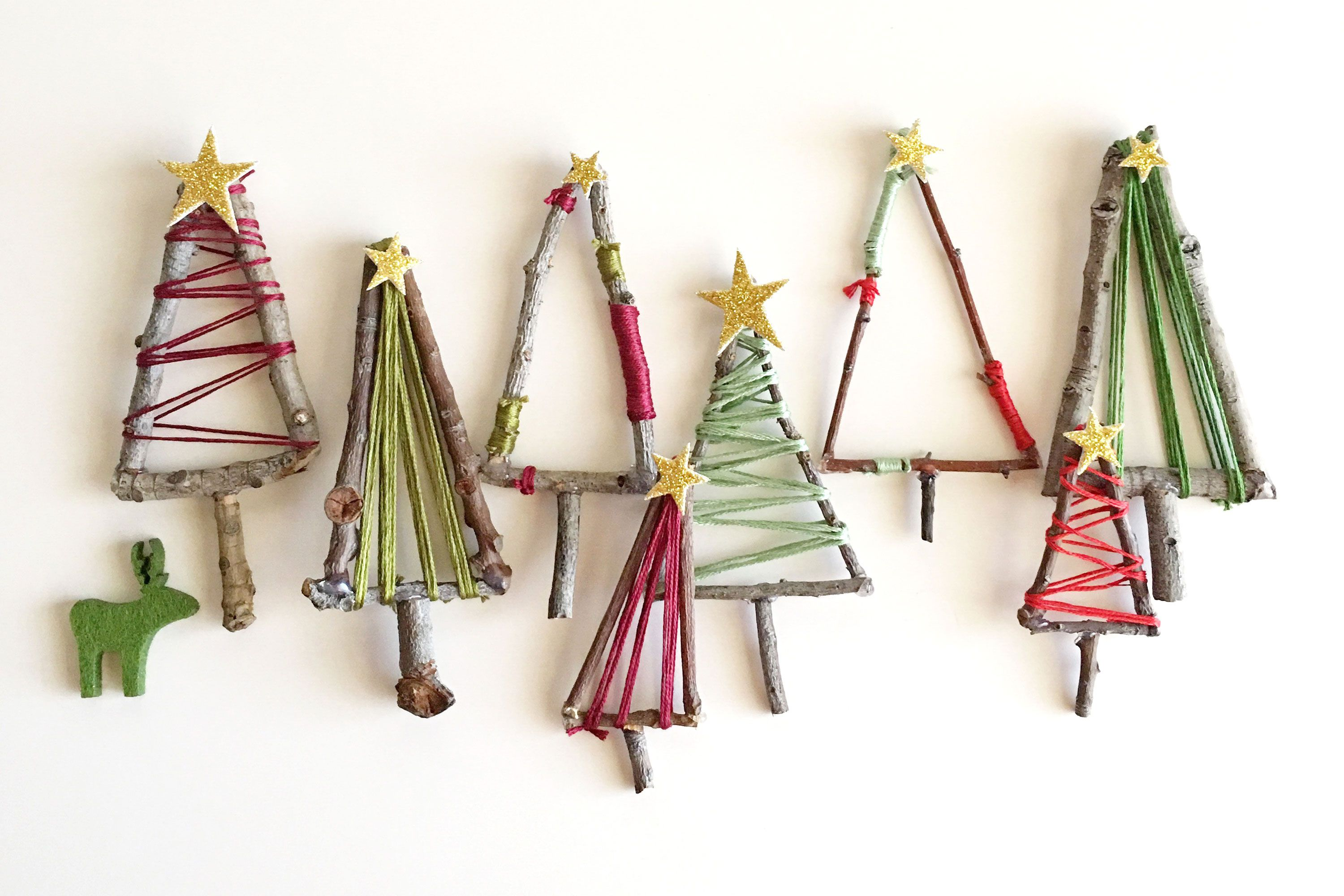 How to make mini twig Christmas tree decorations