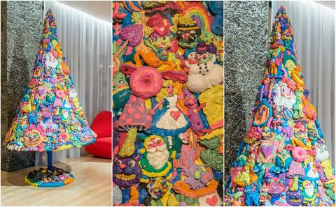 Sanderson Hotel unveil Alice in Wonderland themed Christmas tree – made entirely out of plasticine